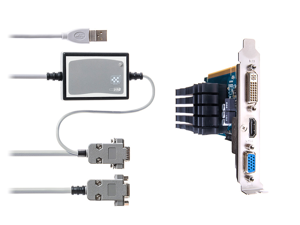 Adapter for high resolution pattern-stimulator with dual monitor video card